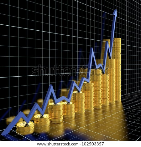 Business graph moving up and showing money earning - stock photo