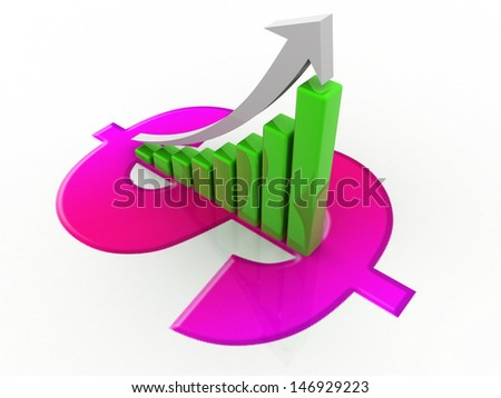 Business graph on dollar sign  - stock photo