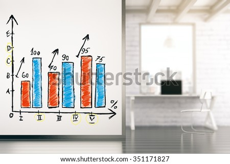 Business graph on white wall in empty loft office 3D Render - stock photo
