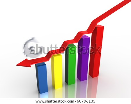 Business graph showing decreasing profit for euro - stock photo