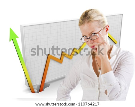Business graph showing growth behind a woman - stock photo