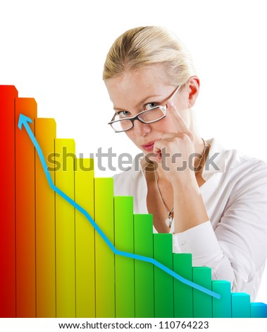 Business graph showing growth in front of a woman - stock photo
