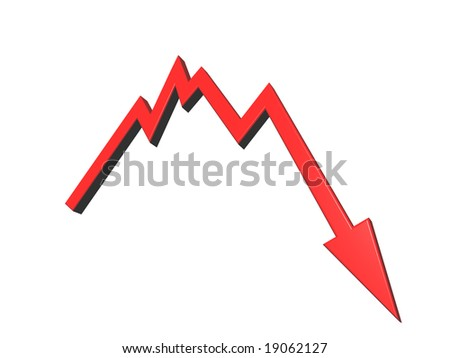 business graph shows bad news - 3d illustration - stock photo