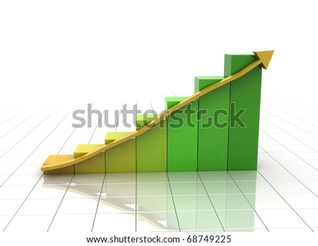 Business Graph with arrow green and orange - stock photo