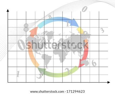 Business graph with arrows and map of world - stock photo