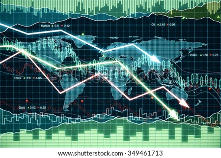 Business graph with glowing arrows tending downwards  - stock photo