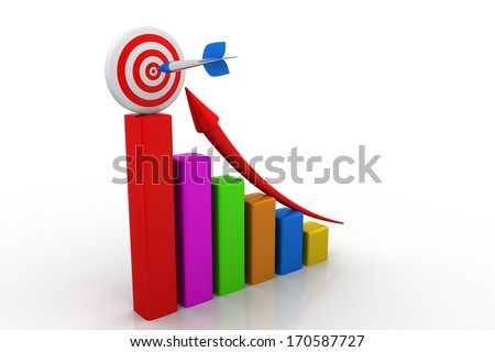 Business graph with green rising arrow moving up to centre of the red target - stock photo