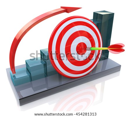 Business graph with rising arrow and red target in the design of information related to the business and success. 3d illustration - stock photo