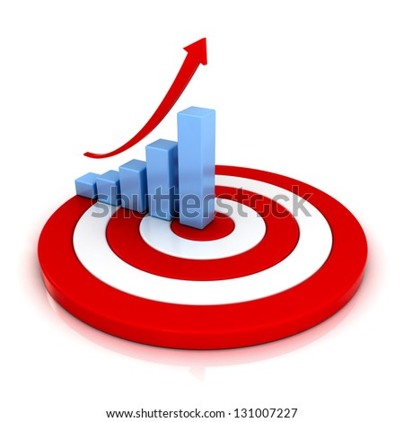 Business graph with rising arrow on red target over white background with reflection - stock photo