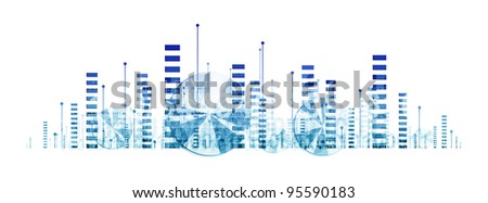 Business graphics and diagrams (abstract illustration on white background) - stock photo