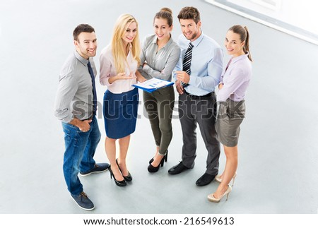 Business group, high angle view - stock photo