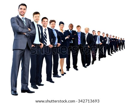 Business group in a row isolated over a white background - stock photo