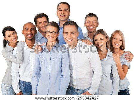 Business. Group of diverse business colleagues enjoying success - stock photo