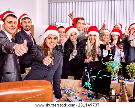 Business group people in santa hat at Xmas party. - stock photo