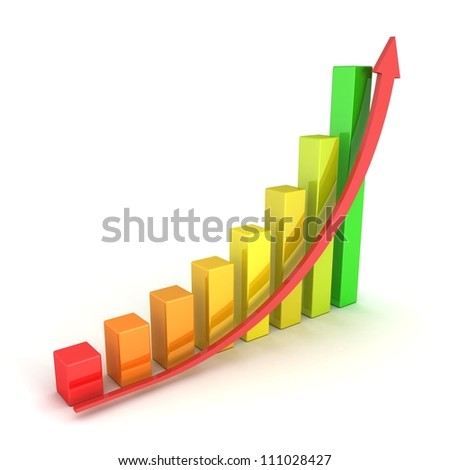 Business Growth Colorful Bar Diagram with red arrow - stock photo