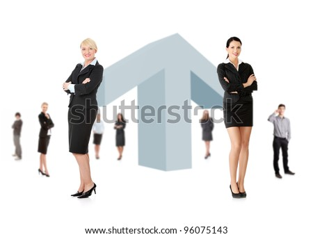 Business growth concept. Businesspeople around giant arrow pointing up. - stock photo