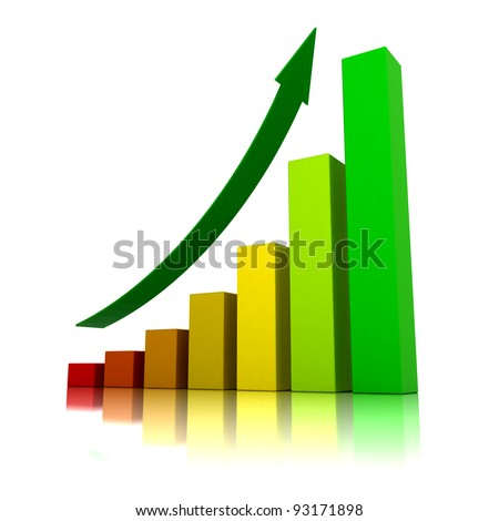 Business growth - 3D illustration - stock photo