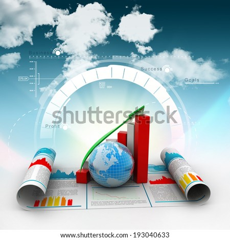Business growth graph and  globe - stock photo