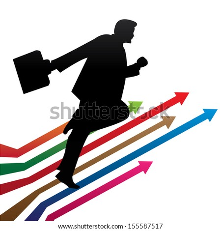 Business Growth, Job Opportunity or Business Solution Concept Present By The Businessman Running on Colorful Arrow Isolated on White Background  - stock photo