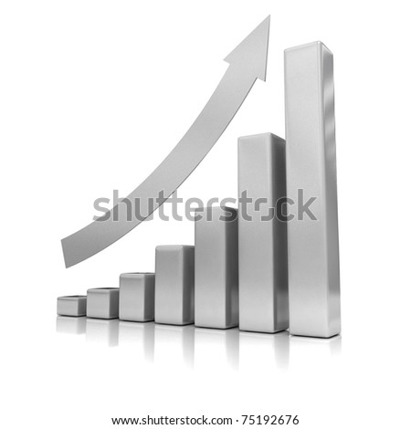 Business Growth - Silver Bars - 3D illustration. - stock photo