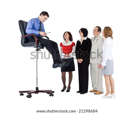 Business guru speaking to people from above - isolated - stock photo