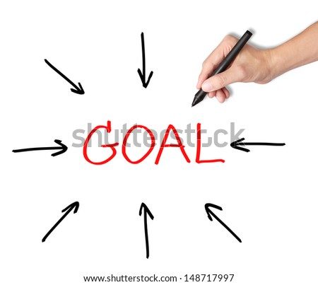 business hand access the goal - stock photo
