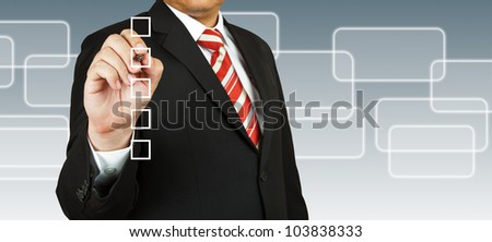 Business Hand choosing one of many options - stock photo