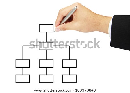 business hand drawing chart in whiteboard - stock photo