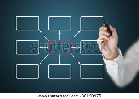 business hand drawing  diagram - stock photo