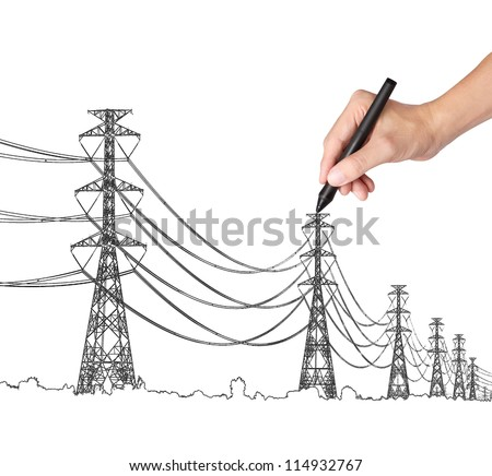 business hand drawing industrial electric pylon and wire - stock photo