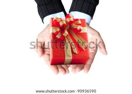business hand for show red gift in her hand - stock photo