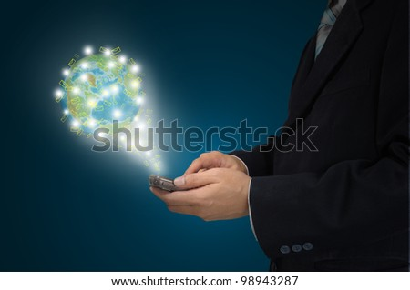 Business hand hold Touch screen mobile phone and buttons e-mail - stock photo