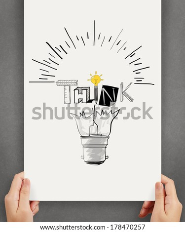 business hand holding poster show hand drawn light bulb and THINK word design as concept - stock photo