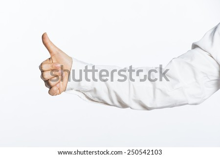 business hand, isolated on white background - stock photo