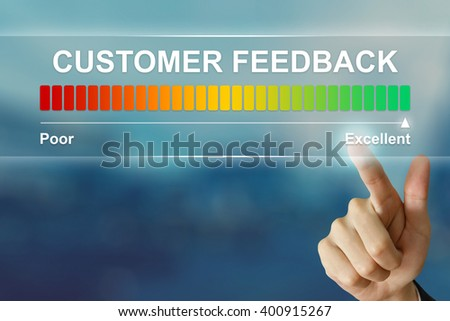 business hand pushing excellent customer feedback on virtual screen interface - stock photo