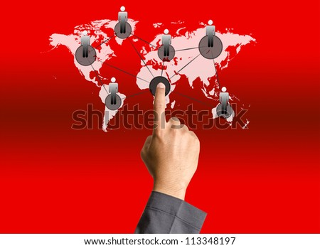Business hand pushing people social network - stock photo
