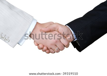 Business Hand shaking on a white background - stock photo