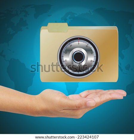 Business hand show a locked folder. Data security concept. - stock photo