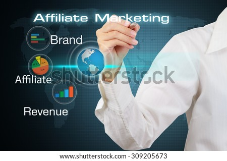 Business hand showing affiliate marketing concept. - stock photo
