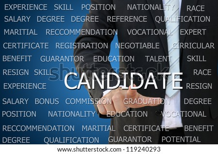 Business hand touch candidate for recruitment concept - stock photo