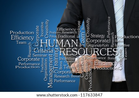 Business Hand Touch Human Resources Chart - stock photo