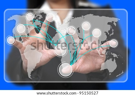 Business Hand Touch on Virtual Touchscreen Interface with Blank Button Connection (Selective focus on finger) - stock photo