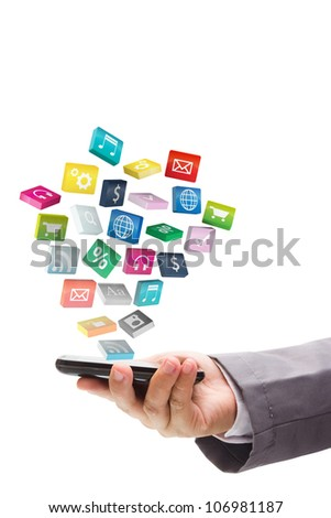 Business hand use mobile phone with colorful application icons, isolated on white background (Save Paths For design work) - stock photo