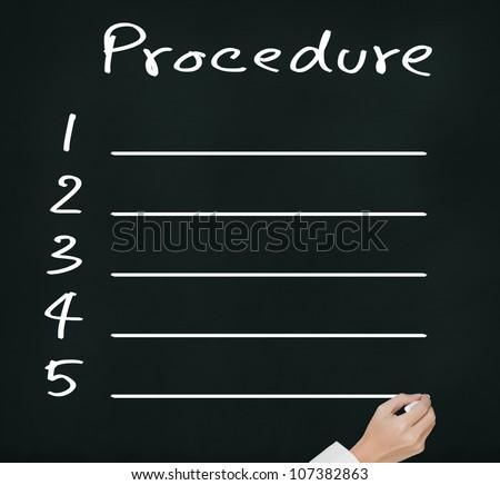 business hand writing blank procedure list on chalkboard - stock photo