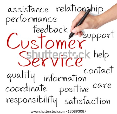 business hand writing customer service concept - stock photo