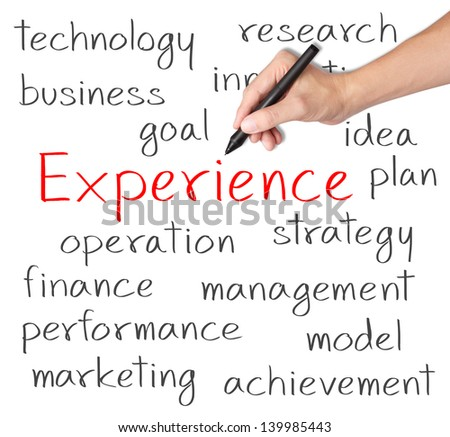business hand writing experience concept - stock photo