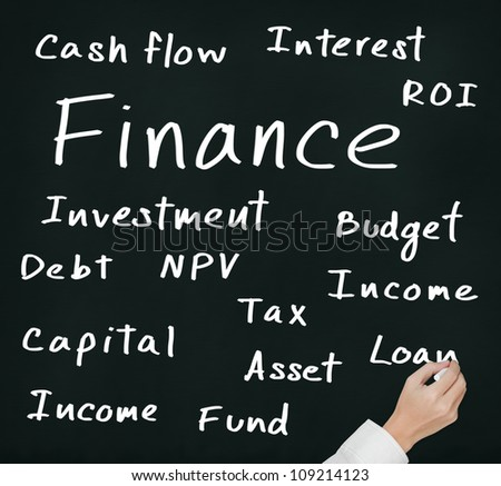 business hand writing finance concept - stock photo