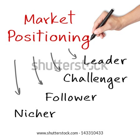 business hand writing market positioning classification - stock photo
