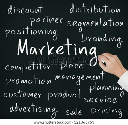 business hand writing marketing concept - stock photo