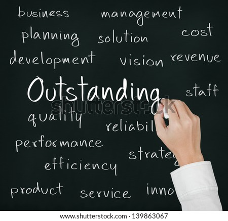 business hand writing outstanding concept - stock photo